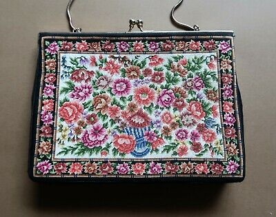 *Vintage 1970s Hand Made Black & Multicoloured Petit Point Evening Bag