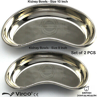 """Set of 2 Kidney Trays Bowls 8"""" & 10"""" Stainless Steel Dental Surgical Vet Lab CE"""