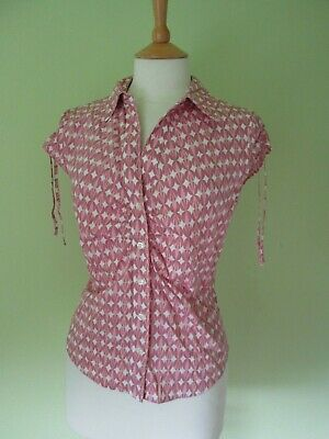 M&S pink cotton geometric retro art deco? pattern fitted shirt s/m 10/12