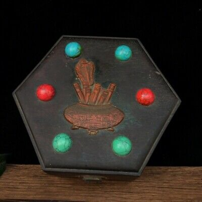 """7"""" Chinese old antique huanghuali wood inlay Turquoise Red Coral box statue"""