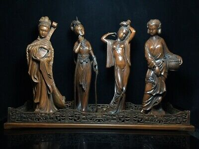 "15"" Chinese old antique Boxwood Hand carved Four Beauties statue Sculpture 4pc"