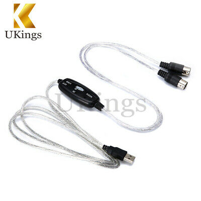 USB IN-OUT MIDI Interface Cable Converter PC to Music Keyboard Cord