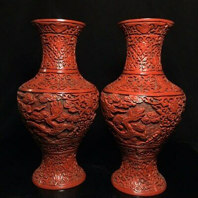 """11"""" A pair Chinese old antique Lacquer ware Qing qianlong mark dragon vase pot"""