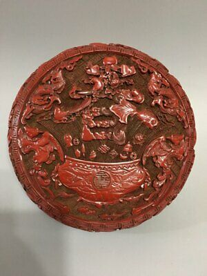 "6"" Chinese antique Lacquer ware Qianlong mark double Phoenix fish Jewelry box"
