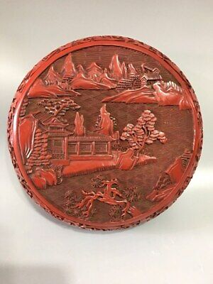 """6"""" China antique Lacquer ware Qing qianlong mark carving landscape Jewelry box"""