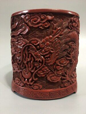 "5"" Chinese antique Lacquer ware Qing qianlong mark carving dragon Brush Pot"