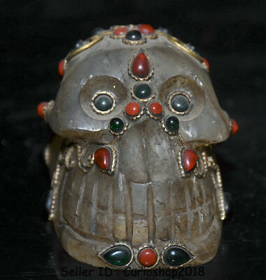 "4"" Rare Antique Old Tibet Crystal Silver Wire Inlay Gem Human Skull Head Statue"