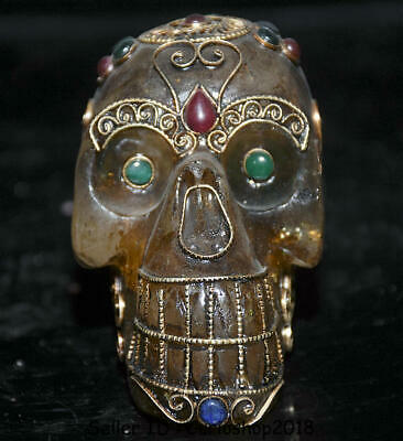 "3.6"" Antique Old Tibet Crystal Silver Wire Inlay Gem Human Skull Head Statue A1"