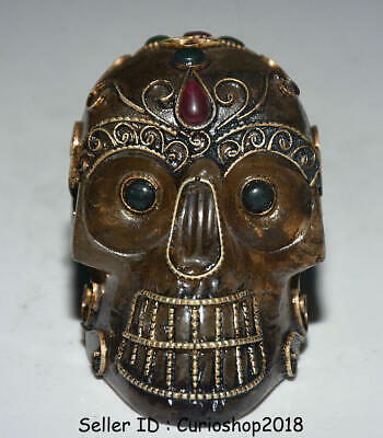 "2.8"" Antique Old Tibet Crystal Silver Wire Inlay Gem Human Skull Head Statue A2"