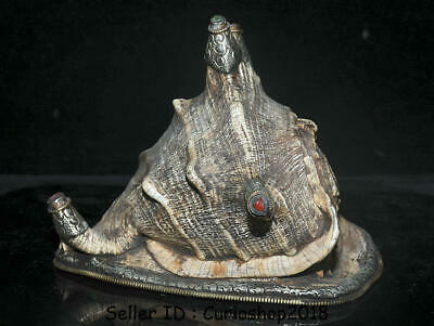 "9.2"" Unique Antique Old Tibet Buddhism Silver Conch Shell Trumpet Horn Statue"