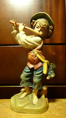 "Vintage 6"" Wood Hand Carved Wandering Boy With Flute Statue Figurine German Gift"