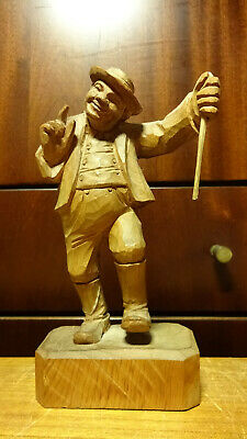 "Antique 7"" Wooden Hand Carved Dancing Man Wanderer Hiker Statue Figurine German"