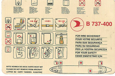 Turkish Airlines B-737-400 safety card