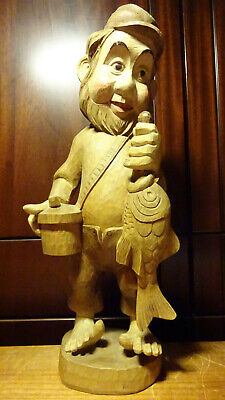 "Vintage 16"" Wooden Hand Carved Fisherman Dwarf With Catched Fish Statue Figurine"