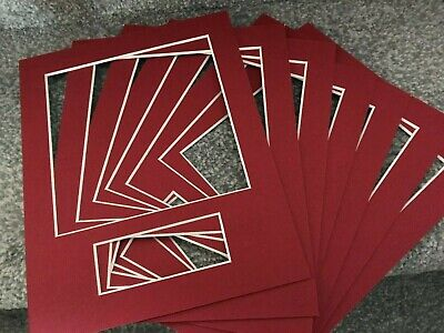 8 Dark Red Bevel Cut 10 X 8 Inch Picture Frame Mounts With Text Box  Aperture