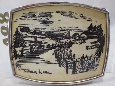 Etched Rural Farm Scene Vintage Belt Buckle by artist Joanne Isaac-Collectible