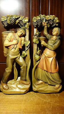 """Vintage 16"""" Pair Wood Hand Carved Wall Relief Harvest Grapes Winegrower Statue"""