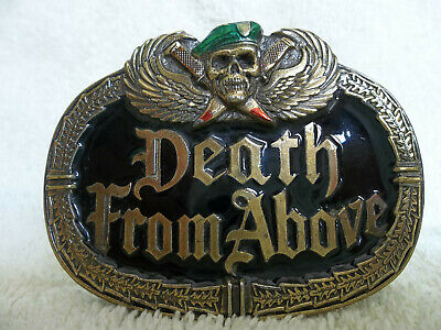 Rare DEATH FROM ABOVE Enameled BRASS BELT BUCKLE, Great American Buckle Co, 1984