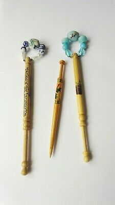 VINTAGE signed Wood Wooden Lacemaking Lace Bobbins & Beads Spangles