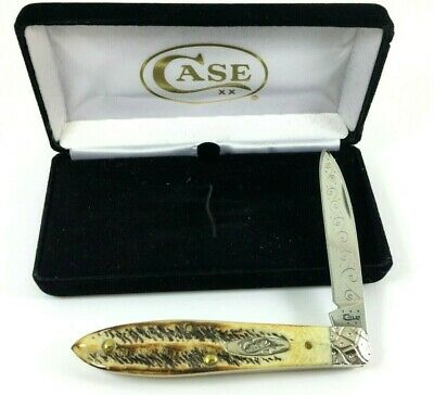 Case XX Teardrop Knife BONE STAG TB6.51028 SS ENGRAVED + Box 2860-LXQ