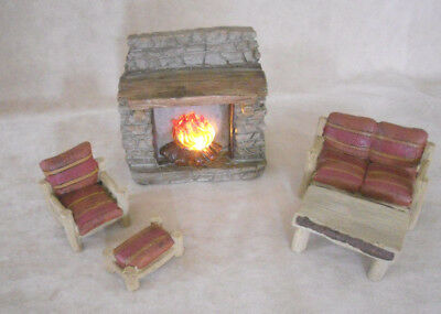 Dollhouse Fireplace Lights and Living Room Furniture Cabin Rustic