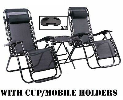 2x Black Zero Gravity Garden Chairs Recliner Folding Outdoor Lounge Beach Table