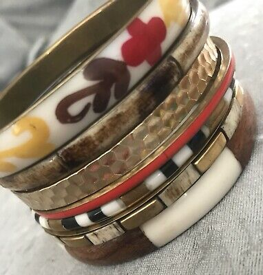 vintage jewellery Collection Gold Tone Inlay Bangles bracelets