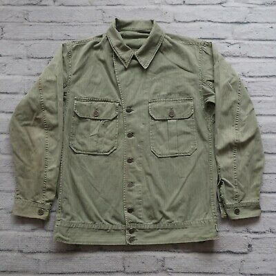Vintage 40s WWII US Army HBT First Pattern Jacket 13 Star M Herringbone Twill