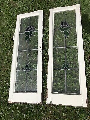 Beautiful Pair of 1930's Stained Glass Window Panels with Red Rose Design