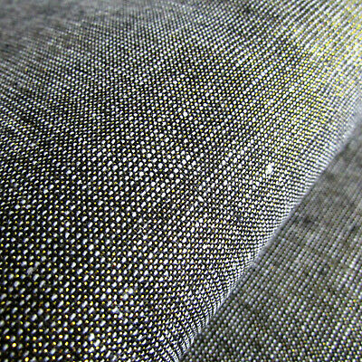 'Black' with gold Essex Yarn Dyed MetallicLinen by Robert Kaufman - per FQT