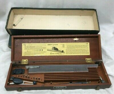 Vintage  Keuffel & Esser K+E Leroy Lettering Basic Set 61 2920 with wooden box