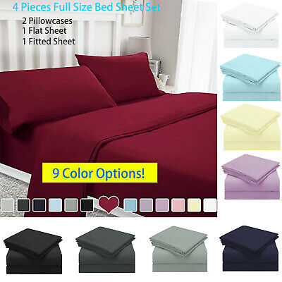 """15""""Full Size Bed Sheet Set Soft Deep Pocket 2Pcs Flat Fitted Cover&2 Pillowcases"""