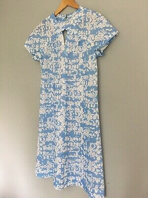 True Vintage Shift Dress Mod 70s 60s Print Handmade 12 14 💙
