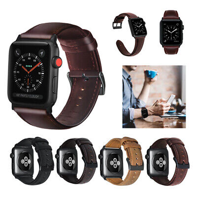 Apple Watch 4 3 Retro Genuine Leather iWatch Band Men Casual Strap 40/44/38/42mm