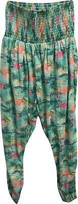 PRE-OWNED Zara Girls Green Floral Cuffed Trousers Size 13-14 Years