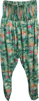 Zara Girls Green Floral Cuffed Trousers Size 13-14 Years