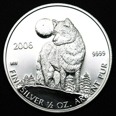 2006 1/2 oz Timber Wolf - Canada Wildlife .9999 Silver Coin in mint plastic #2