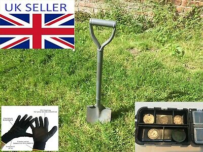 Metal detecting beginner set,kit, spade, trowel, finds pouch, holder, magnifier
