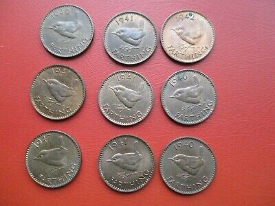9 George VI Wren Farthings in good condition  (ref 663)