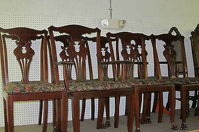 Antique (8)  Chairs Empire Style Solid Mahogany Claw Foot