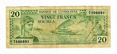 "New Caledonia ~ P-49 ~ 20 Francs ~ 1944 ~~ ""French Rule""  WWII"