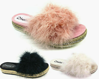 Fashion Thirsty Womens Fluffy Faux Feather Sliders Slides Casual Slippers Sandals Size
