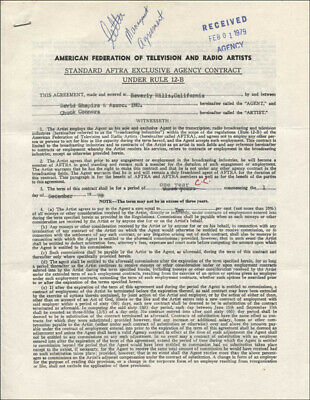 Chuck Connors - Contract Double Signed 12/19/1978 Co-Signed By: David Shapira