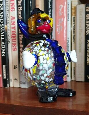 Vintage Murano Glass Clown . Quality Colourful Art Glass Figurine Statue