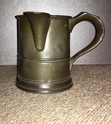 Victorian Pewter Pint Tankard With Side Spout And Engraved VR Mark
