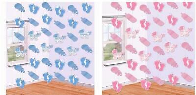 Baby Shower Hanging Party Banner Bunting Boy Girl Gender Reveal Decorations