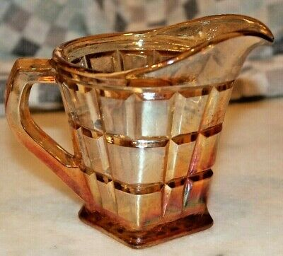 Attractive Vintage Art Deco Carnival Glass Cream/ Milk Jug c1920s/30s