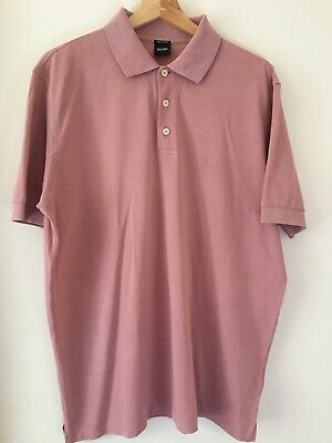 Mens Hugo Boss Pink Pima Cotton Polo - Size Large - Tiny Mark On Collar