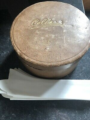 Vintage Faux Brown Leather Round Collar Box Some Wear/damage