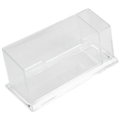 1X(1 Pcs Clear Plastic Business Card Holder Stand Display with Pen Stand 12 Y8A3